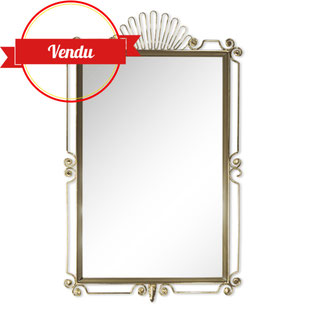 miroir vintage rectangulaire,miroir design,miroir années 50,miroir années 60,miroir fil de fer,miroir scoubidou,miroir coquille,coquillage,miroir laiton,majdeltier,miroir vintage,miroir rétro,original,bohéme,rococo