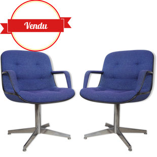 fauteuil strafor,armchair steelcase,desk chair,fauteuils strafor,fauteuils design bleu,fauteuil coque,charles pollock,knoll,majdeltier,design lille,design et vintage,fauteuils de bureau,bleu