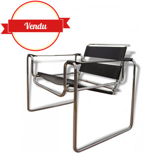 fauteuim, design, marcel breuer, wassily, chrome, cuir, noir, sangle,1970