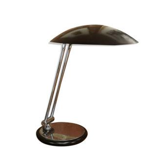 lampe de bureau vintage,lampe ufo,lampe vintage en métal,grande lampe de bureau,vintage,rétro,noire,aluminor,1970,chrome