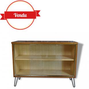 vitrine scandinave, petit meuble, enfilade basse, laiton, 1960, 1950, hairpin legs, verriére scandinave,doré, teck