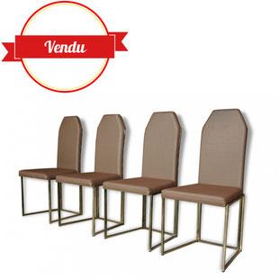 4 chaises 1970, belgochrom, chaises, metal doré, doré, vintage, 1970, belgique