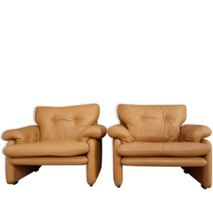 paire de fauteuils coronado,afra scarpa,tobia scarpa,1960,1966,design,leather,sofa,armchair,cognac,marron,camel,tendance,vintage,scandinave,majdeltier
