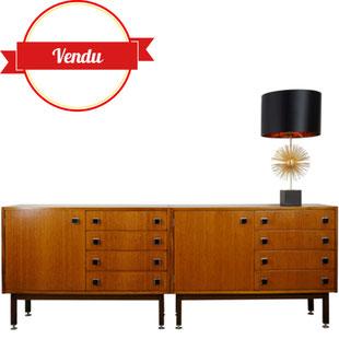enfilade modulable,paire de buffet,meubles symétrie,enfilade années 50,teck,scandinave,enfilade combineurop,buffet,design,vintage,majdeltier