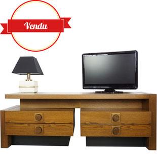 meble tv vintage,meuble tv,modulable,meuble tv design,meuble télé,design et vintage,original,bois,laque noir,tiroirs,grand,meuble bas,majdeltier,années 70