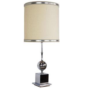 lampe maison barbier,grande lampe,lampe chromée,lampe boule,trés grande lampe,abat jour beige,lampe vintage,lampe design,lampe ancienne,lampe vintage chic,majdeltier,lille