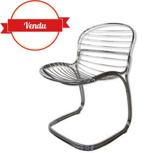 chaise sabrina,chaise gastone rinaldi,chaise design,fil,chaise fil chromé,1970,chaise vintage,édition Rima,majdeltier