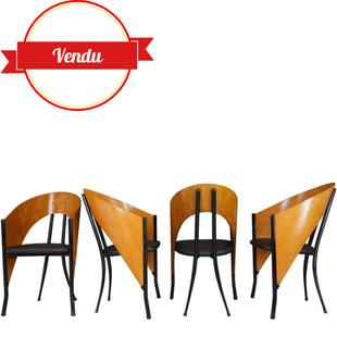 chaises design italien,bois cintré et métal,vintage,design,philippe starck,driade,costes,simili cuir noir,chaises originales,chaise aileron,majdeltier,fasem