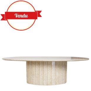 table basse en travertin,table basse italienne design,table basse willy rizzo,marbre,pierre,travertin,ancienne,ovale,majdeltier,selency,brocantelab,design market