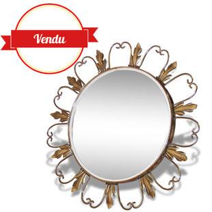 miroir,rond,sorciére,sorcière,vintage,1950,1960,retro,retroviseur,laiton,coeur,bois,doré,or,bombé
