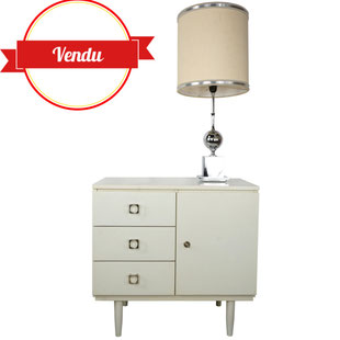 buffet vintage blanc,meuble vintage blanc ,petite enfilade,style scandinave,style vintage et design,majdeltier