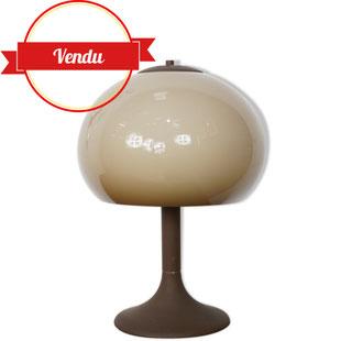 dijkstra lampen,lampe space age,lampe champignon,pied tulipe,lampe 1960,lampe 1970,années 60,années 70,métal marron,couleur dégradé,majdeltier