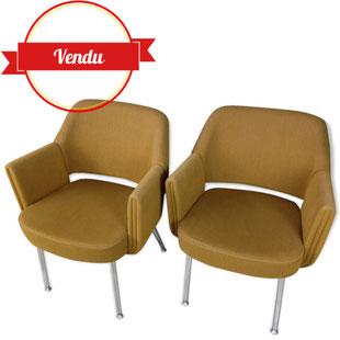 fauteuil deauville pierre gautier delahaye pour airborne,fauteuil airborne,fauteuil delahaye,fauteuil vintage moutarde,fauteuil design moutarde,chromé,fauteuil années 60