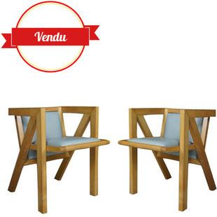 fauteuil design cubique vintage dans le style du fauteuil cube par Peter Jensen, fauteuil géométrique, contemporain, fauteuil , vintage, hétre