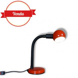 lampe de bureau vintage, lampe eyeball, lampe eye ball, vintage, italien,design, veneta lumi,rouge