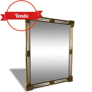 grand miroir vénitien, miroir vintage, miroir laiton, miroir doré, or, pareclose, doré, laiton, bois, biseauté,deknudt