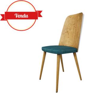chaise scandinave bois courbé,chaise scandinave assise bleu canard,bleu,bleu canard,bois courbé,1950,1960,bureau,pieds compas,chaise vintage,majdeltier,chaise design,chaise baumann