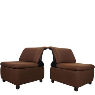 paire de chauffeuses vintage,chauffeuse,chauffeuse design,dossier coque,fibre de verre,abs,plastique,addform,vintage,tweed marron et noir,majdeltier
