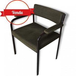 fauteuil vintage, 1960, 1970, vintage, velours, graphique, métal, tubulaire, accoudoirs, large, chaise