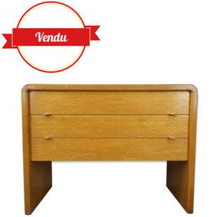 commode vintage,commode vintage bois clair,commode design bois clair,bois arrondi,vdb,bob van den berghe,commode design moderniste,poignées laiton,1950,1960