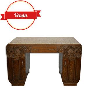 bureau art deco,bureau plateau marbre,bureau sculpté,old french desk,art deco,majdeltier,lille