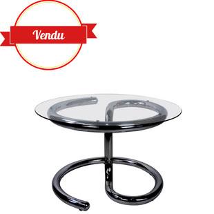 table basse serpent,table basse anaconda,paul tuttle,design 1970,strassle,tubulaire,chromée,ronde