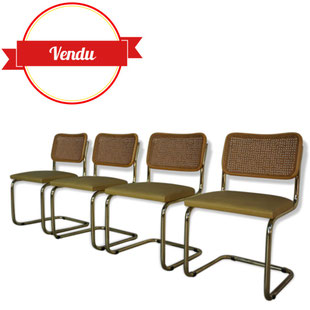 chaises marcel breuer,cannage, cantilever, italie,gavina,or, dorées,gold,wood,4 chaise vintage, vintage, cantilever,rotin,design