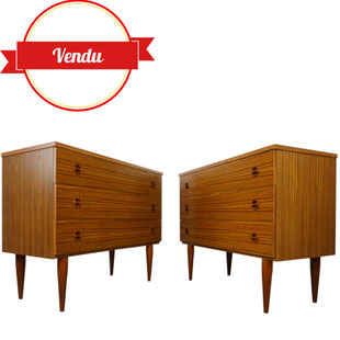 Paire de commodes en teck des années 60, design scandinave,vintage,majdeltier,lille