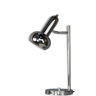 lampe vintage chromée,lampe design chromée,lampe de bureau chromée,majdeltier,lampe de bureau,orientable,spot,design,années 60,rétro