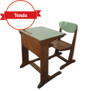 ensemble bureau d'écolier casala,bureau enfant,bureau enfant design,bureau enfant formica,formica vert,pieds luge