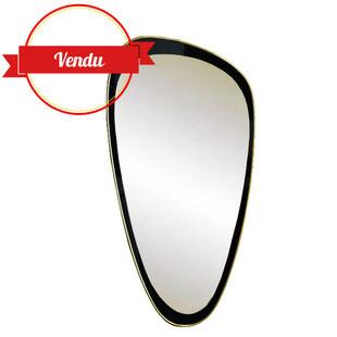 miroir vintage, miroir, miroir rétroviseur, miroir forme libre, miroir noir, teinté, laiton, doré, ovoide, forme libre, ancien, miroir, 1950, 1960