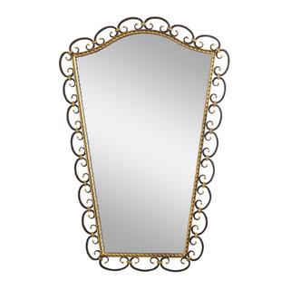 miroir fer forgé,miroir fer forgé des années 50,jolie patine,miroir ancien,miroir romantique,grand miroir,miroir rétro,miroir vintage,majdeltier,tourcoing,hauts de france