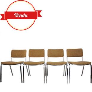 chaises vintage,chaises empilables,chaises chromées,chaises des années 70,vintage rétro tweed