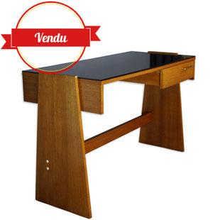bureau vintage,bureau de forme libre,bureau design,bureau en bois,teck,verre noir,vintage,design,original,de forme libre,rectangulaire,bois