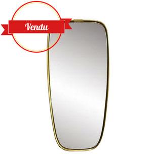 Miroir rétroviseur de forme libre, laiton massif, 1950, cadre bois, lourd, 1960, miroir vintage