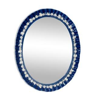 miroir italien porcelaine,miroir italien ancien,miroir cuisine,arts de la table,miroir moule a gateaux,faience,porcelaine,bleu,fleurs,majdeltier,ancien