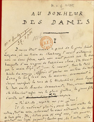 "Manuscrit ""Au Bonheur des Dames"" Emile Zola - collection BNF"