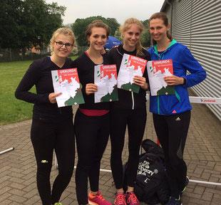 Nicole Pollmann, Laura Giessing, Katrin Boche und Klaudia Kaczmarek (v.l.) möchten ihre Meldezeit von 47,97 Sekunden in Kassel verbessern.