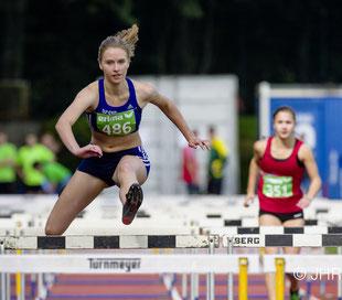 15,23 sec über 100m Hürden und 4.344 Punkte im 7-Kampf der U20: Marie Steldermann kämpfte ausgeglichen in allen Disziplinen. (Foto: Jan-Hendrik Ridder)