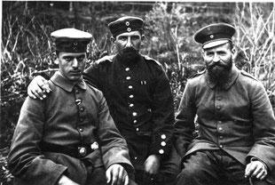 Sickinger Soldaten: Banghard, Münkel und Paulus ca. 1915