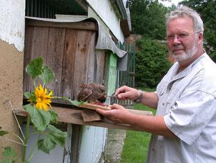 Ulrich Leicht füttert einen Pflegevogel (c) Beuerlein