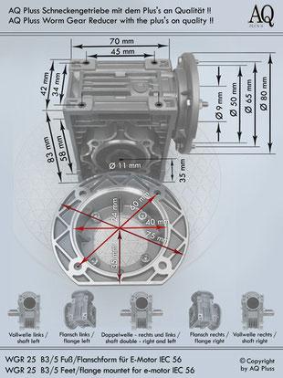 Getriebe » Schneckengetriebe » Schneckengetriebe ohne Motor » B3/5 (Fuß/Flanschform)