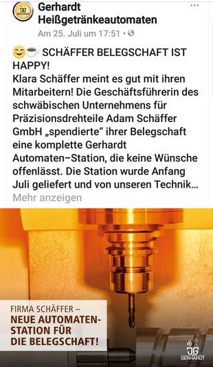 Belegschaft der Adam Schäffer GmbH  ist happy: Klicken Sie ins Bild, um mehr zu lesen.