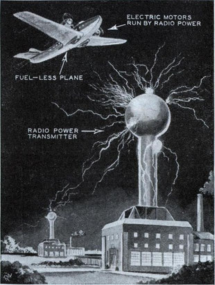 Nikola Tesla, electrical wizard, foresees the day when airplanes will be operated by radio-transmitted power supplied by ground stations, as shown in the drawing above.
