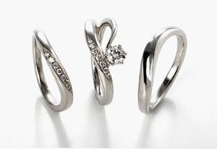 セットリング 婚約指輪を立てるとハートが現れます