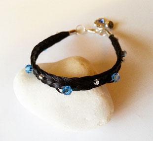 Blaue Diamant-Perlen und kleine Perlen silber Größe 1