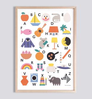 Kinderposter ABC-Poster Alphabet fürs Kinderzimmer . Julia Matzke . Illustration . Bilder für Kinder