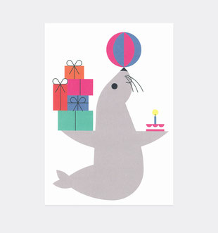 Postkarte Geburtstag Robbe für Kinder . Julia Matzke . Illustration . Bilder für Kinder