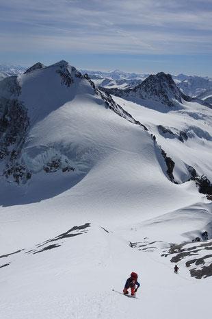 Skitour Wetterhorn, Skihochtour Wetterhorn, Rosenlaui, Rosenlauigletscher, Engelhornhütte, Dossenhütte, Fussanstieg, Gipfelanstieg, Mittelhorn, Skidepot