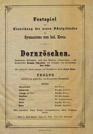 """""""Dornröschen"""", Titelblatt zum Festspiel 1866, Komposition J. Gelbke"""